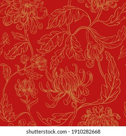Seamless floral pattern. Chrysanthemum flowers. Vector
