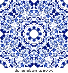 Seamless floral pattern. Seamless floral pattern of circular ornaments. Blue ornament of berries and flowers in the style of Chinese painting on porcelain. Vector illustration.