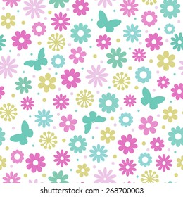 Seamless floral pattern. Colorful flowers and butterflies, white background.