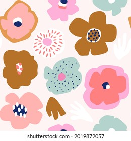 Seamless floral pattern in cut out style. Creative flower minimalistic texture with. Great for fabric, textile vector illustration.