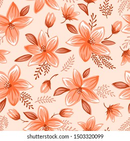 Seamless floral pattern with cute decorative flowers and leaves vector illustration