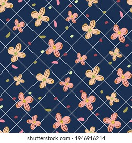 Seamless floral pattern with cute flowers. For textile, wrapping paper, packaging. Vector pattern.