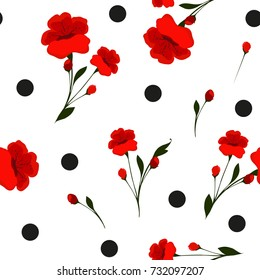 Seamless floral pattern. Cute retro texture. Flowers and dots for design fabric, paper, wrapping.