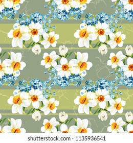 Seamless floral pattern with daffodils and forget-me-nots