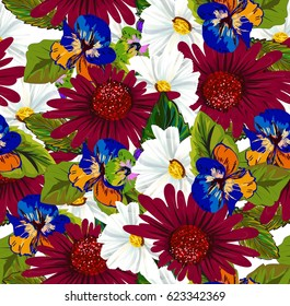 Seamless floral pattern with daisy and  gerberas, leaves  on wight