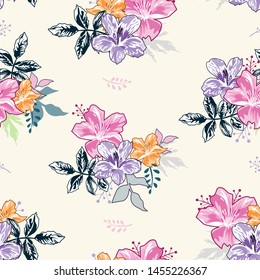 Seamless floral pattern with Dark Background. Vector illustration. Flowers texture.