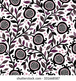 Seamless floral pattern with decorative pomegranate fruits and leaves. Floral repeating background. Natural print texture. Wallpaper.