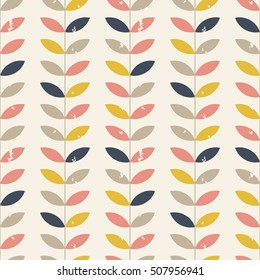 Seamless floral pattern with distressed look twigs and leaves in retro pastel colors - pink, gray, blue and yellow on beige background. Scandinavian style design. EPS 8 stock vector.