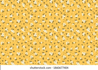 Seamless floral pattern. Ditsy background of small white flowers and black leaves. Small-scale flowers scattered over a yellow background. Stock vector for printing on surfaces and web design.