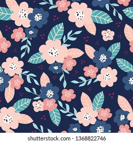 Seamless floral pattern with ditsy modern hand drawn flowers for spring and summer products, fabric, wrapping, clothing, baby and nursery, kids designs