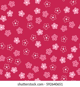 Seamless floral pattern in doodle style. Spring floral background