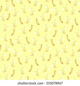 Seamless floral pattern in dusty brownish orange, white and pale yellow.