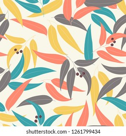 Seamless floral pattern  with eucalyptus leaves. Gum-tree background