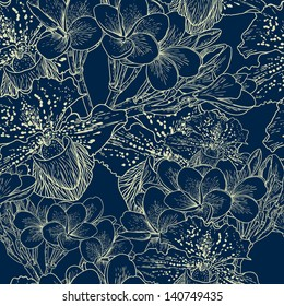 Seamless floral pattern with exotic flowers