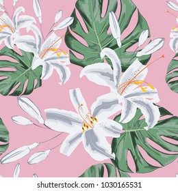 Seamless floral pattern of exotic tropical lilies and monster lives.  Isolated on light pink background. Fabric texture. Wallpaper.