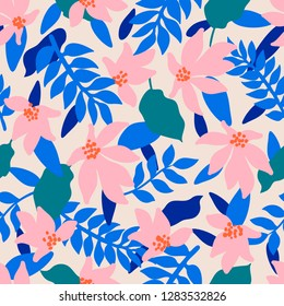 Seamless Floral Pattern. Fashion textile pattern with decorative tropical leaves and coral flowers on cream background. Vector illustration
