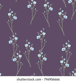 Seamless floral pattern with flax plant.