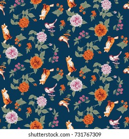 Seamless floral pattern with flowers and berries. Vector illustration