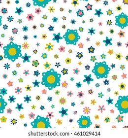 Seamless floral pattern with flowers of fresh colors on a white background. Vector repeating texture.