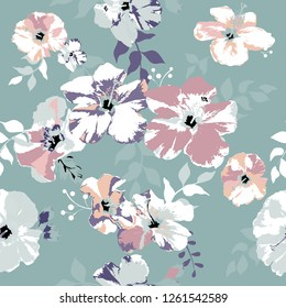 Seamless floral pattern. Flowers texture.Vector illustration