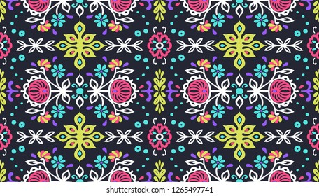 Seamless floral pattern folk colorful flowers and leaves. Indian embroidery. Talavera pattern. Turkish ornament. Spanish ethnic background. Mediterranean seamless wallpaper.