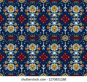 Seamless floral pattern folk colorful flowers and leaves. Indian embroidery. Talavera pattern. Turkish ornament. Spanish ethnic background. Mediterranean wallpaper.