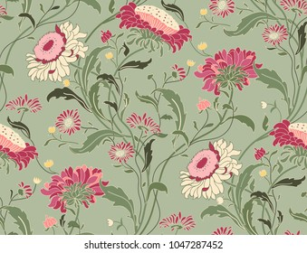 Seamless floral pattern in folk style with wildflowers, leaves. Hand drawn. Vector illustration