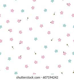 Seamless floral pattern forget-me-not blue and pink flowers. Myosotis gentle flower pattern on white background, vector eps10