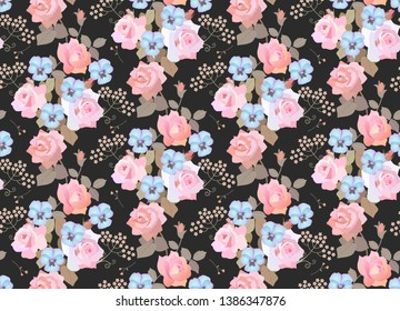 Seamless floral pattern with garlands of ligth pink roses, blue pansies and umbrella flowers on black background. Luxury print for fabric.