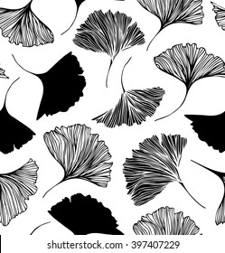Seamless floral pattern with Ginkgo leaves. Vector graphic background
