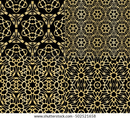 Seamless Floral Pattern Gold Color Vector Graphic Illustration Ethnic Arabic Indian Ornament