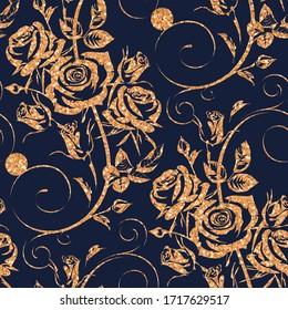 Nahtlose Blumenmuster mit goldenen Blumen - Rosen auf dunkelblauem Hintergrund. Handgezeichnete, florale Wiederholungsschmuck von Blüten im Skizzenstil. Zum Packen von Papier, Umschlägen, Textilien.