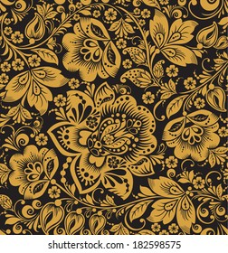 Seamless floral pattern. gold flowers on a black background. Hohloma