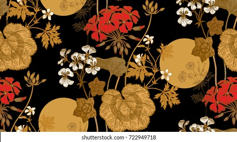 Seamless floral pattern. Gold foliage, red, white geranium flower or pelargonium on black background. Vintage vector illustration. Hand drawing. Template for packaging, textiles, paper, fabrics