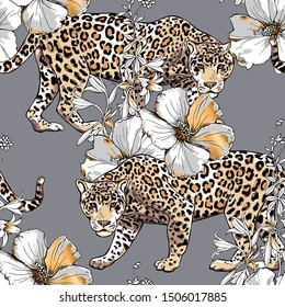 Seamless floral pattern. Gold Jaguar and Hibiscus flowers, herbs and leaves on a gray background. Textile composition, hand drawn style print. Vector illustration.