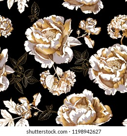 Seamless floral pattern. Gold Peony, Hydrangea, Rose flowers and leaves on a black background. Textile composition, hand drawn style print. Vector illustration.