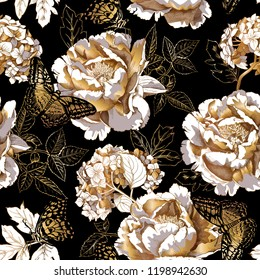 Seamless floral pattern. Gold Peony, Hydrangea flowers, Rose leaves and Exotic butterflies on a black background. Textile composition, hand drawn style print. Vector illustration.