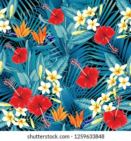 Seamless floral pattern green palm leaves and red color Hibiscus,Frangipani,Heliconias,Bird of paradise flowers on black background.Vector illustration watercolor hand drawn doodle.