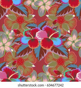 Seamless Floral Pattern in green and pink colors. Vector illustration.