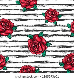 Seamless floral pattern with hand drawn roses and black stripes . Retro style. Vector illustration.