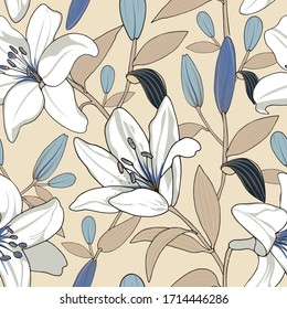 seamless floral pattern of hand drawn white lily