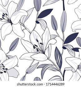 seamless floral pattern of hand drawn white lily in navy tone on white background