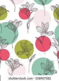 Seamless floral pattern. Pattern with hand drawn flowers. Alstroemeria. Seamless pattern with hand drawn plants. Vector. Herbal background.  Botanical illustration.