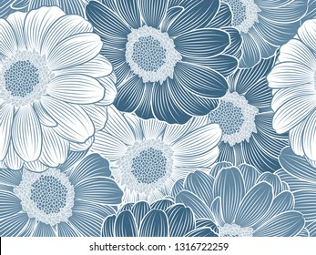 Seamless floral pattern with hand-drawn purple abstract gerbera flowers.