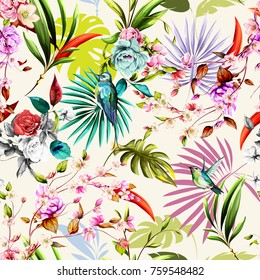 Seamless floral pattern with humming bird, flowers and leaves on white tropical background. Hand drawn, vector - stock.