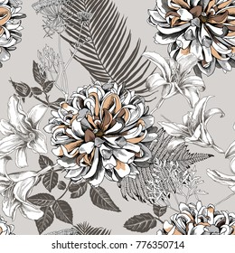 Seamless floral pattern with image of a Dahlia and Lily flowers, fern, Cow parsnip, Date palm leaves on a beige background. Vector illustration.