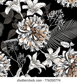 Seamless floral pattern with image of a Dahlia and Lily flowers, fern, Cow parsnip, Date palm leaves on a black background. Vector illustration.