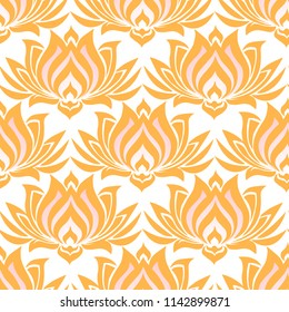 Seamless floral pattern with Indian motifs. Blooming lotuses on white background. Template for textile design, cards and packaging.