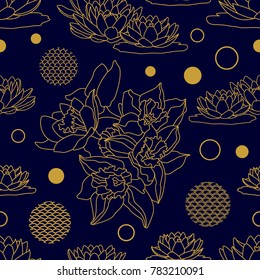 Seamless floral pattern with Indonesian motifs. Blooming lotuses in the water. Template for textile design, cards and packaging. Golden linear flowers and geometric elements on black background.