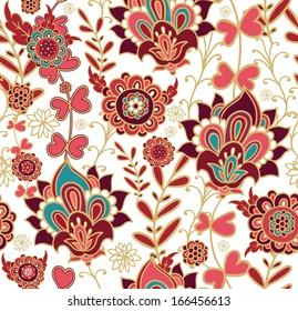 Seamless floral pattern, intricate design, kalamkari